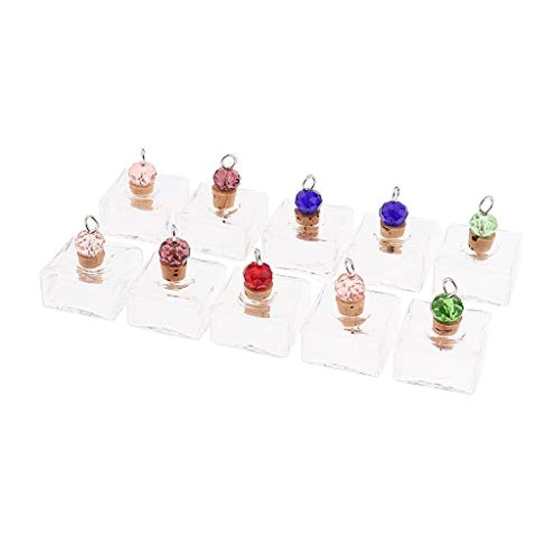 発疹何か軍艦エッセンシャルオイルボトル アロマ ペンダント 香水瓶 ネックレス ガラス 1.5ML ギフト 10個