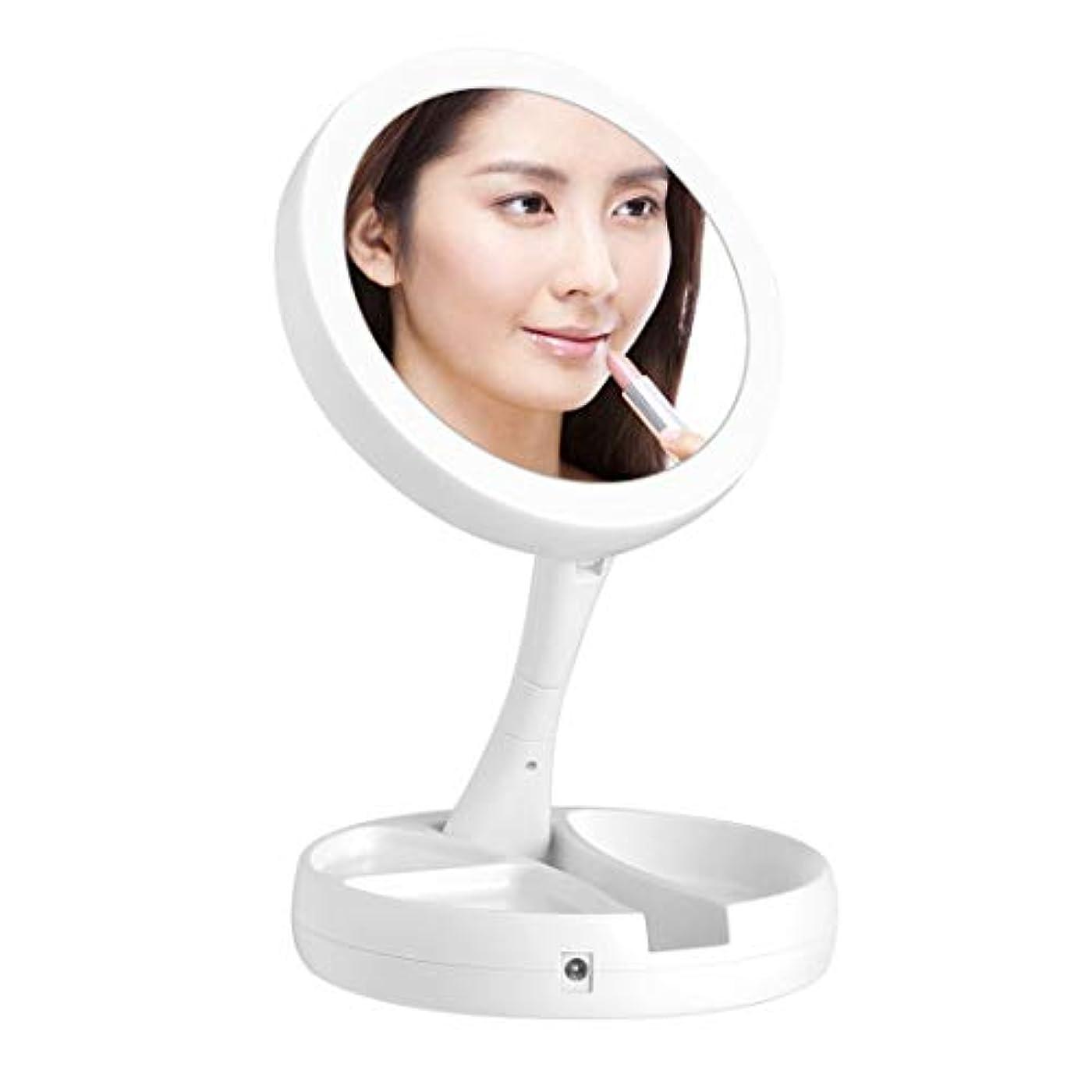 境界フレアスマイルkamaa化粧鏡 化粧ミラー 女優ミラー LED両面鏡 鏡 10倍拡大鏡付き 折り畳み式 卓上 テーブルランプUSB/電池給電 180°回転