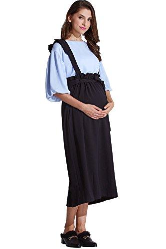 [해외]Sweet Mommy 출산 바지 롱 스커트 프릴 멜빵있는 허리 조절 기능 2WAY 어깨 끈 길이 조절 가능 허리 리본 큰 사이즈 안감 고급 소재 맥시 산전 산후 출산/Sweet Mommy Maternity Bottom Long Skirt with Ruffle Suspender Waist Adjustment Function...