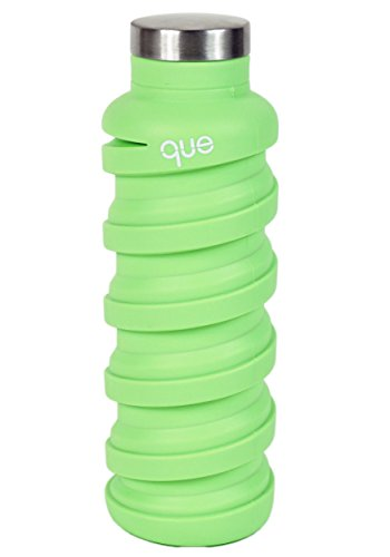 Queボトル – 折りたたみ水ボトル – BPAフリー漏れ防止、軽量、環境にやさしい再利用可能なシリコン旅行スポーツキャンプウォーターボトル – 20oz グリーン