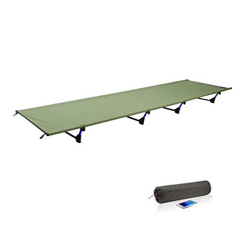 Dpwer 折りたたみ式ベッド キャンプベッド 60 * 185超軽量200KGベアリング通気性 防水ベッド表面7001特殊航空アルミニウムベッドブラケット (アーミーグリーン)