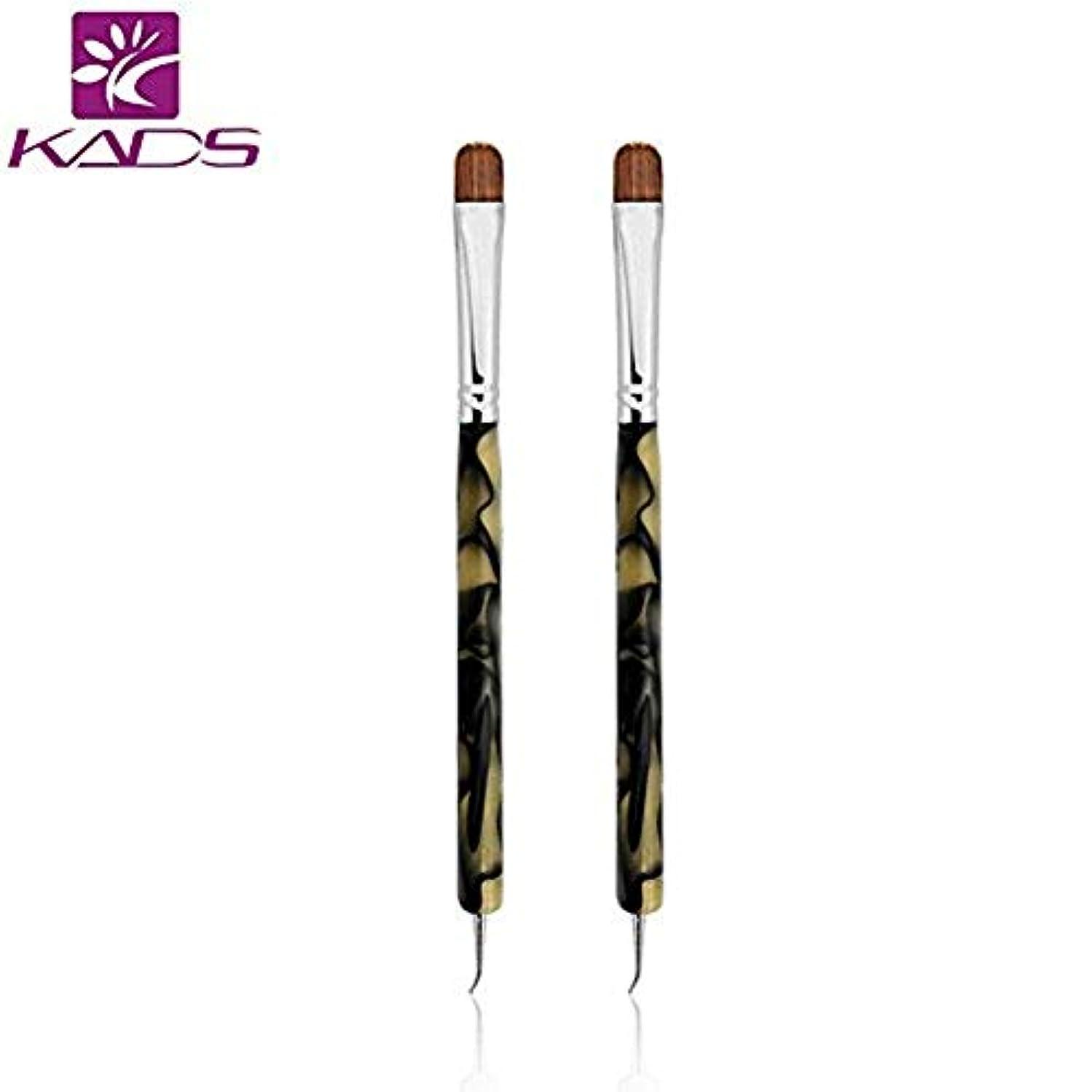 フリースパイントレタッチKADS アクリル用ブラシ/ドットペン付き 2way用 2本入り コリンスキー製ブラシ/ペン ネイルアート用道具(2個/セット)
