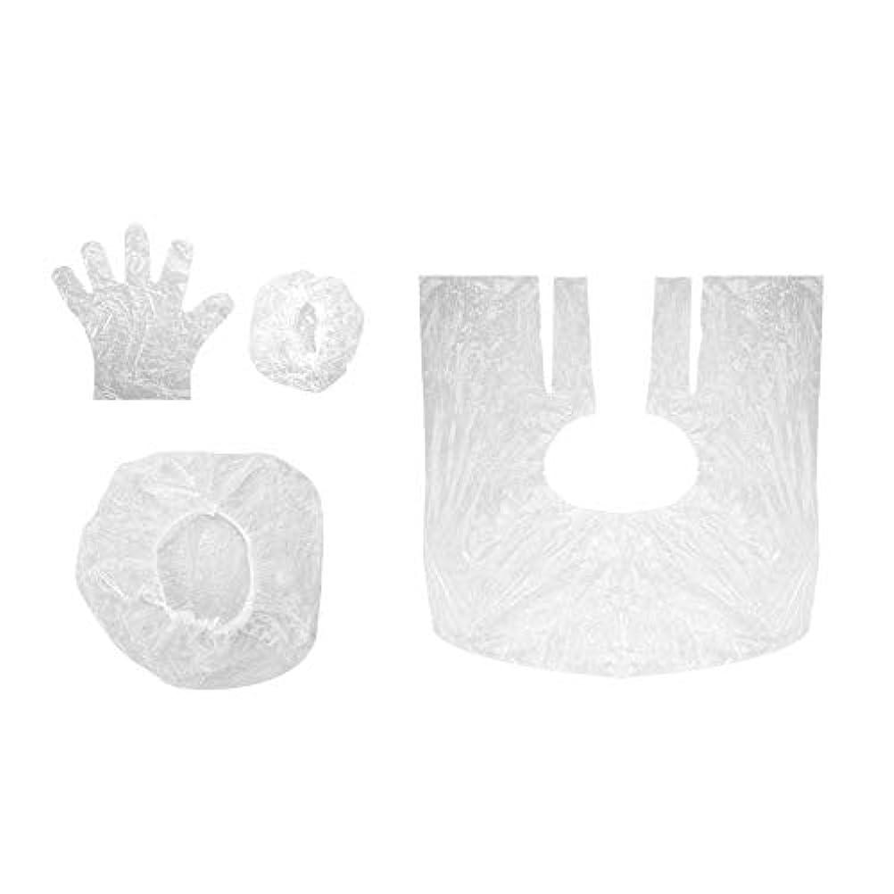持っているリズミカルな酸化する毛染めツール 使い捨て ショールイヤーマフ手袋シャワーキャップ10セットサロン シャワーキャップ耳カバー手袋 美容用品