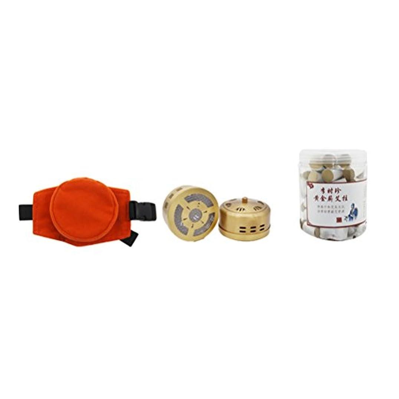 後継ベルベット散らす灸スティックバーナーボックス無煙Moxa清浄器銅タンク調節可能なポケットと60個の腰部頚部の膝関節炎痛み緩和のための灸棒の灸治療の箱