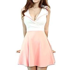 [CAIXINGYI]かわいい ノースリーブ ミニ ワンピース トップス フレア スカート 胸元 セクシー モテ タイト レディース キャバ 嬢 ドレス スカート カシュクール セクシー ワンピ (XXL, ピンク)