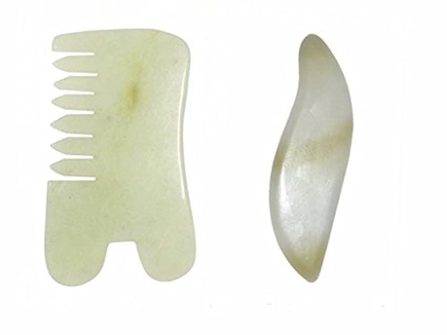 正当化する遷移簡単なEcho & Kern 二点セットかっさ板、翡翠(ジェイド)美顔 天然石かっさプレート、 櫛、マッサージプレート(2PCS) Natural Jade Gemstone Healing Stone Scraper Board...