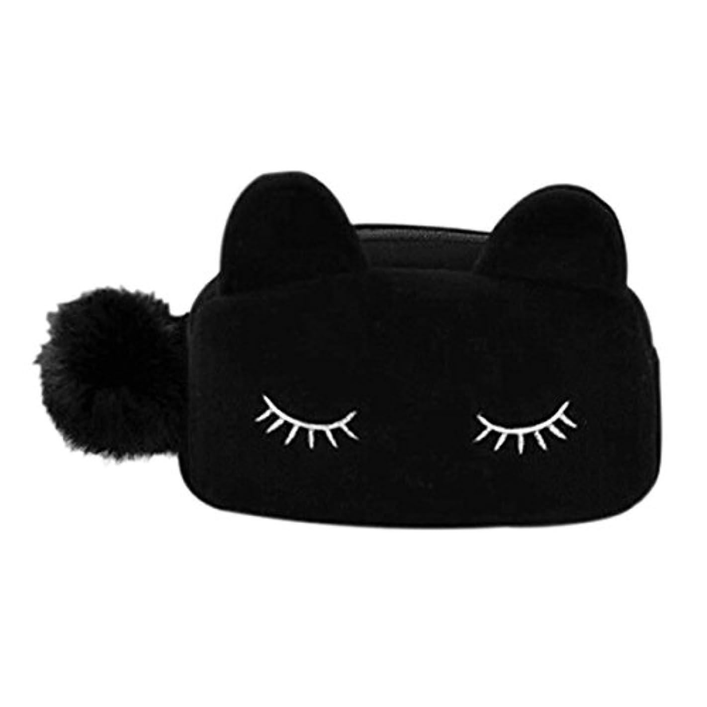 航空記念碑ローズ猫 化粧ポーチ バニティベロア ポンポン付き ブラック
