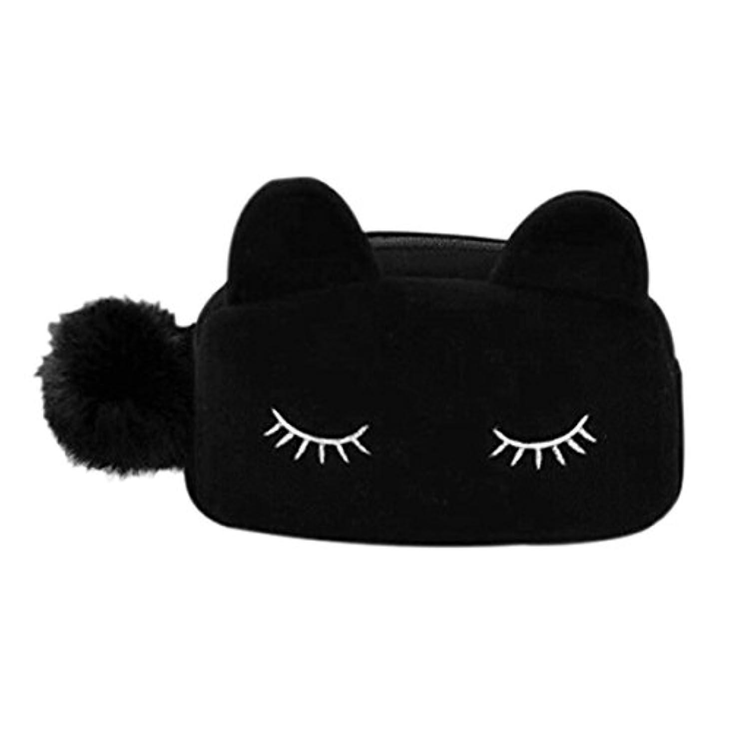 やりがいのあるマニアック旋律的猫 化粧ポーチ バニティベロア ポンポン付き ブラック