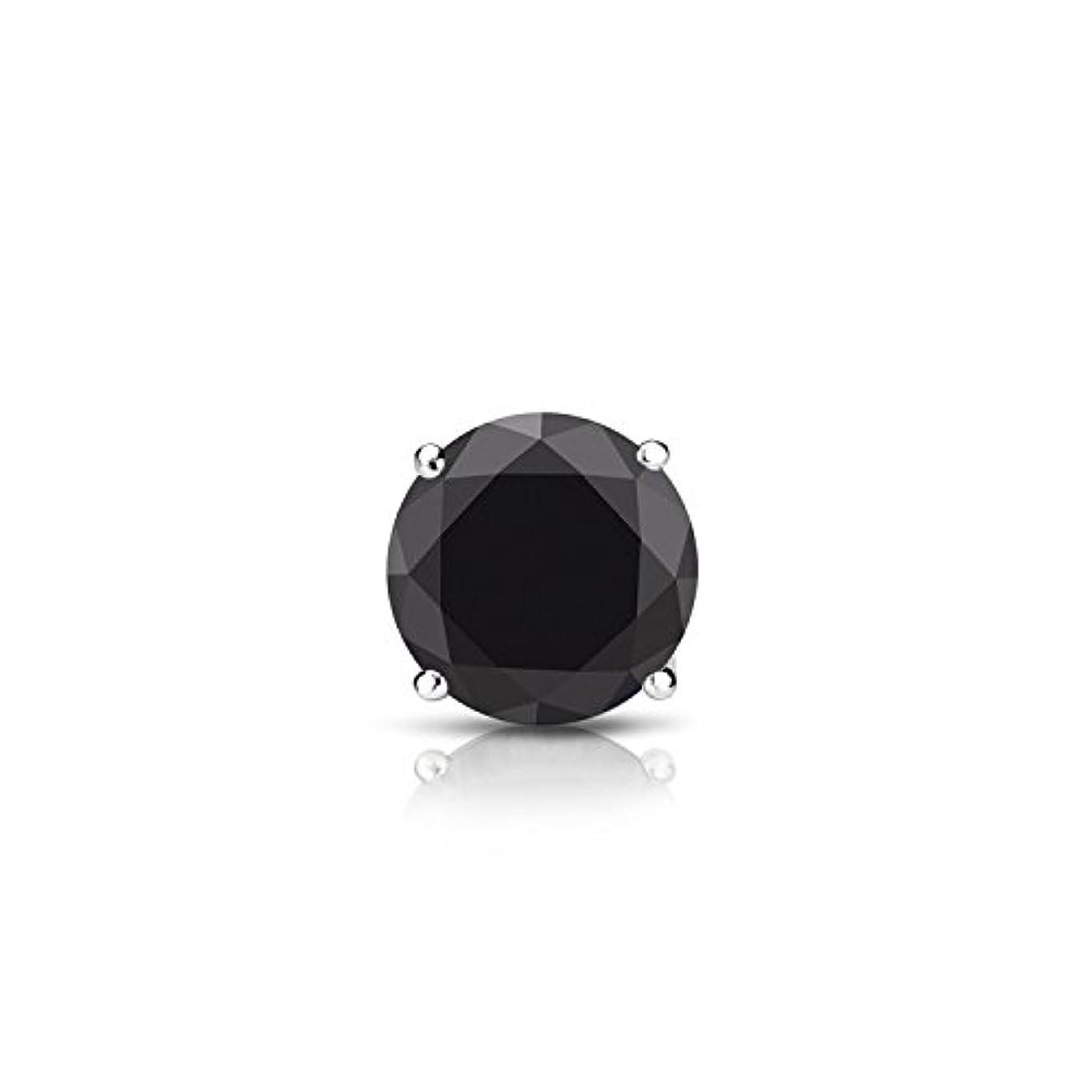 どういたしまして与える熱14 Kゴールド4プロングバスケットラウンドブラックダイヤモンドメンズシングルスタッドイヤリング( 1 / 4 – 2 ct、ブラック安全ロックバック