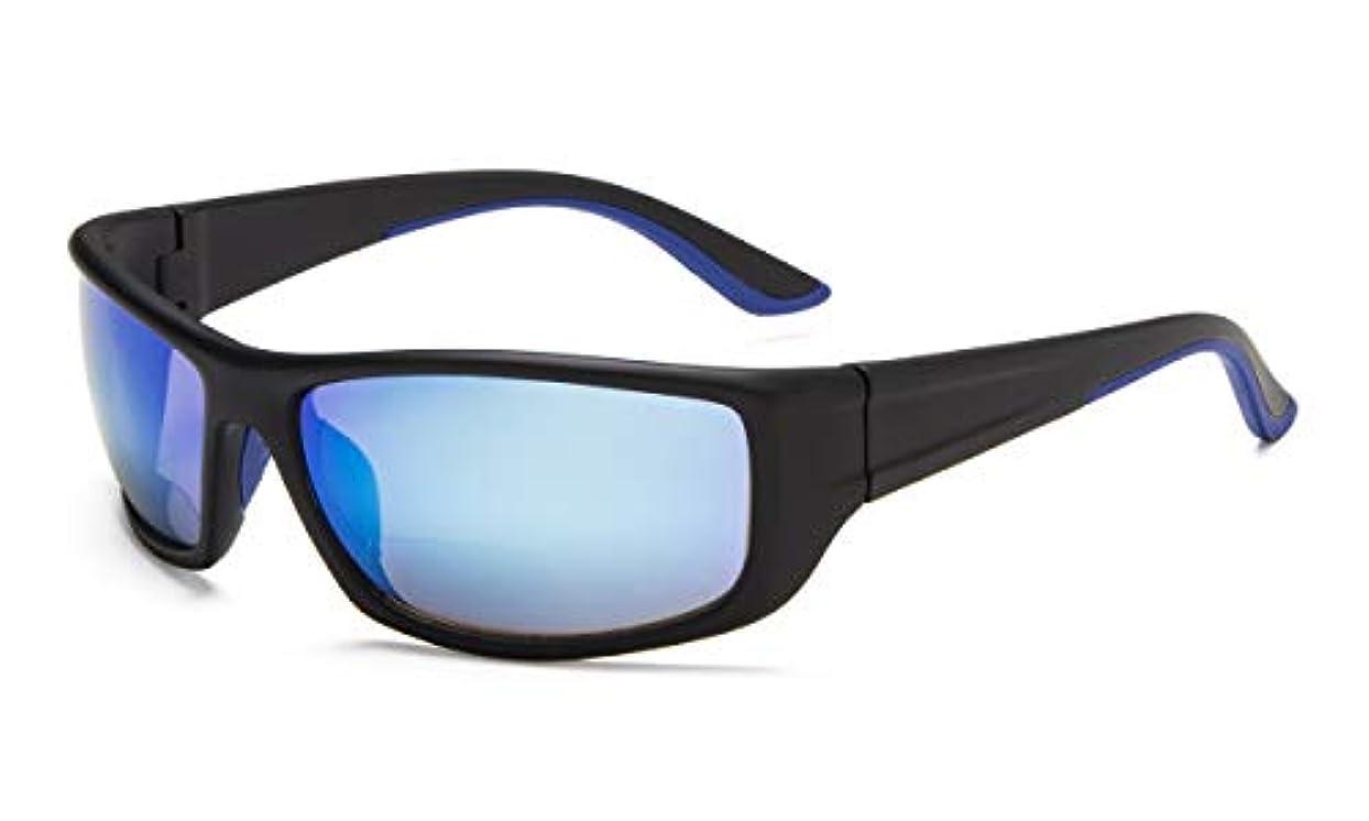 アイキーパー(Eyekepper) スポーツ用 遠近両用サングラス リーディンググラス(老眼鏡)度付き +2.50 長方形フレーム メガネ拭き&ケース付き (ブルーミラー)