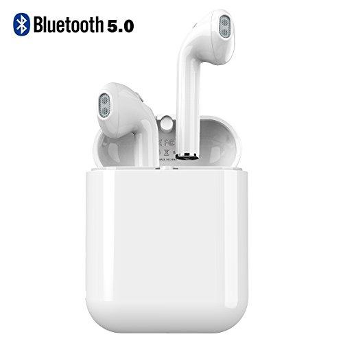 [Bluetooth5.0進化版] 完全ワイヤレス イヤホン Bluetooth Langsdom 高音質 片耳 両耳 自動ペアリング ワンボタン 左右分離 充電式収納ケース マイク付き ブルートゥース ビジネス iPhone Android対応 LT7 (ホワイト)