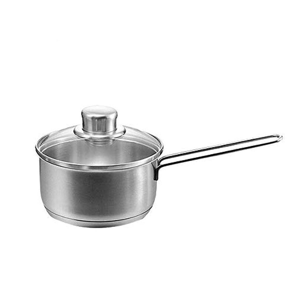 守銭奴フルーティーわずかに鍋 キッチンミニステンレススープポットダブルハンドルロングハンドルパンノンスティック蓋ミルクポット電磁調理器ガスストーブユニバーサルに適しています (Size : M)