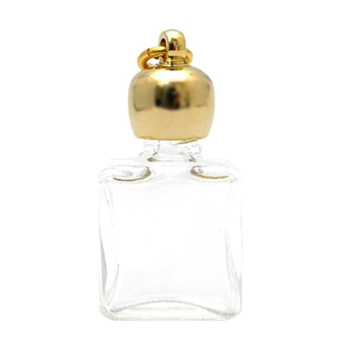 飾る独立してアナログミニ香水瓶 アロマペンダントトップ 平角スキ(透明)1ml?ゴールド?穴あきキャップ、パッキン付属