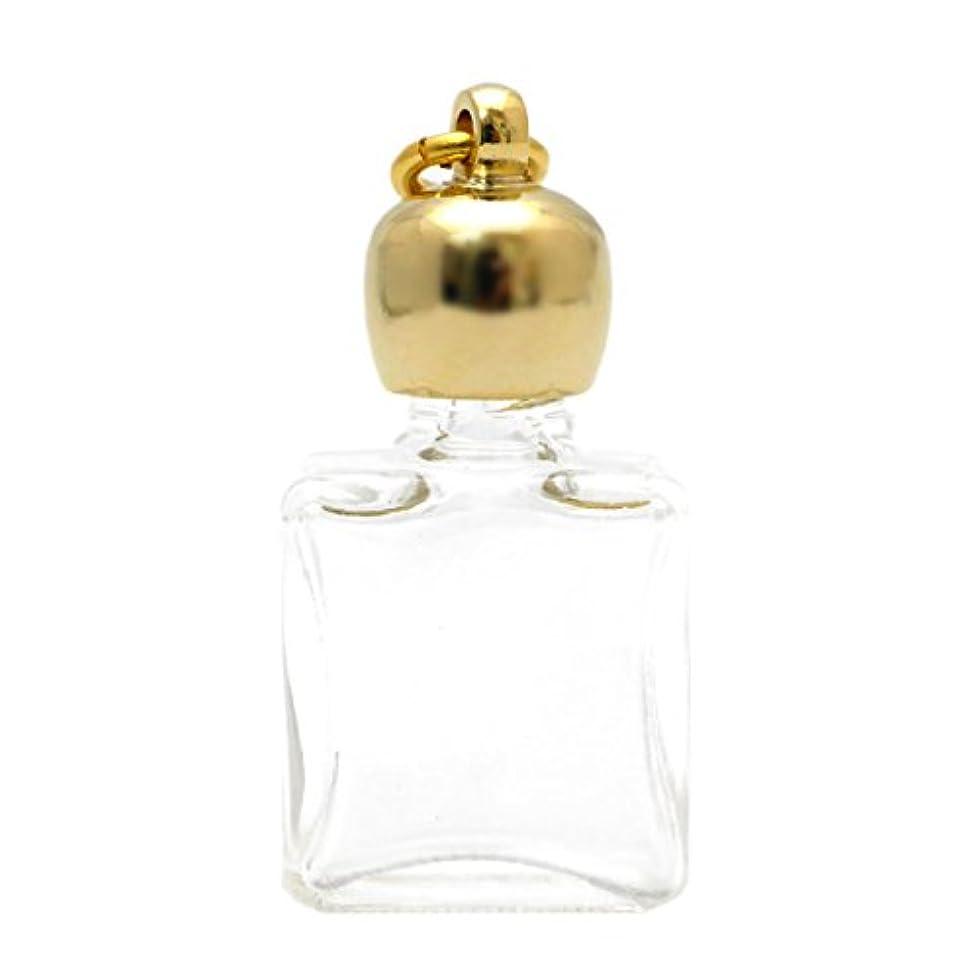 喜劇毒性通訳ミニ香水瓶 アロマペンダントトップ 平角スキ(透明)1ml?ゴールド?穴あきキャップ、パッキン付属