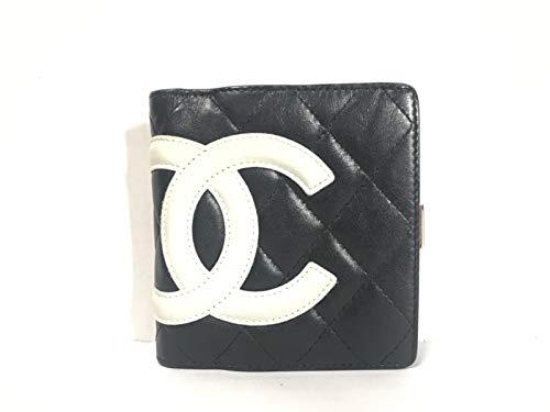 44cb1355d698 中古)(シャネル)CHANEL 2つ折り財布 カンボンライン 黒×白 【中古