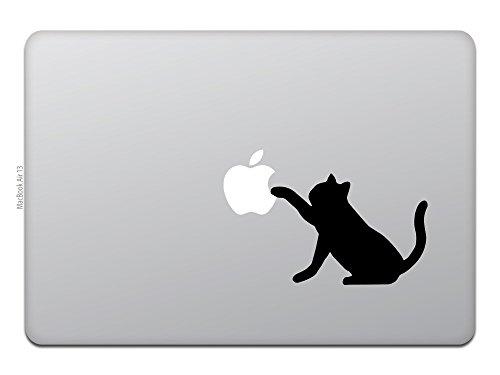Macbook Air Macbook Pro ステッカー スキンシール キャット アップル 猫 黒猫 M618