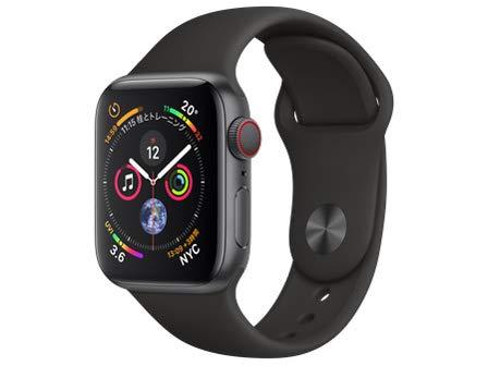 Apple Watch Series 4(GPS + Cellularモデル)- 40mmスペースグレイアルミニウムケースとブラックスポーツバ...