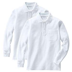 [セシール] 長袖ポロシャツ(2枚組セット) 鹿の子 スクール キッズ 子供 小学生 男女兼用 TS-463 ホワイトA 日本 130 (日本サイズ130 相当)