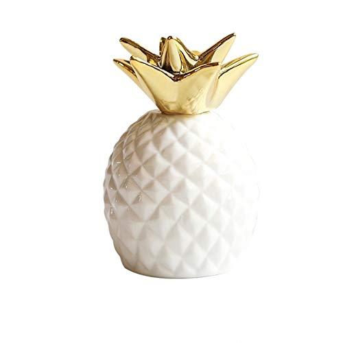 [クイーンビー] パイナップル 貯金箱 かわいい 北欧 セラミック 雑貨 インテリア 置物 室内 デスク 卓上 装飾 オブジェ 果物 フルーツ ギフト 贈り物 プレゼント (ホワイト)
