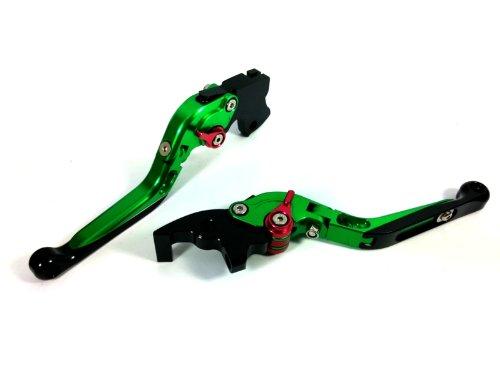 スポーツ用 可倒&可変式(ネジ固定タイプ)アルミ削り出しブレーキ・クラッチレバー セット Buell ビューエル Ulysses XB12XT 2009 緑/赤