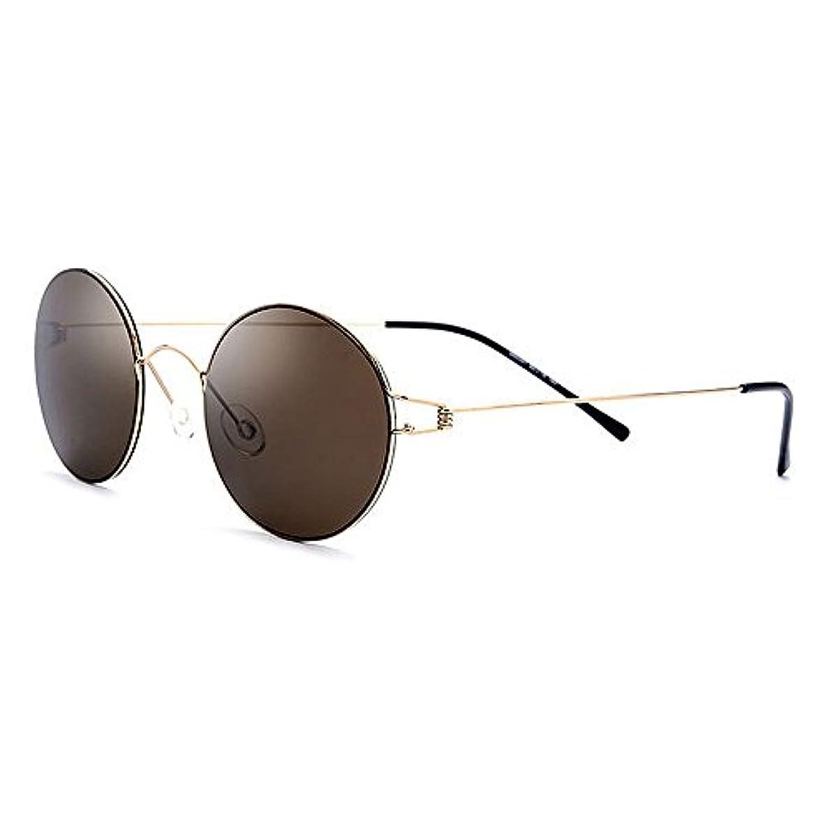 アーティファクト評決締め切りサングラス 運転 偏光レンズホルダー ゴルフ メンズ サングラスフレームレスデザイン R-52 (Brown)