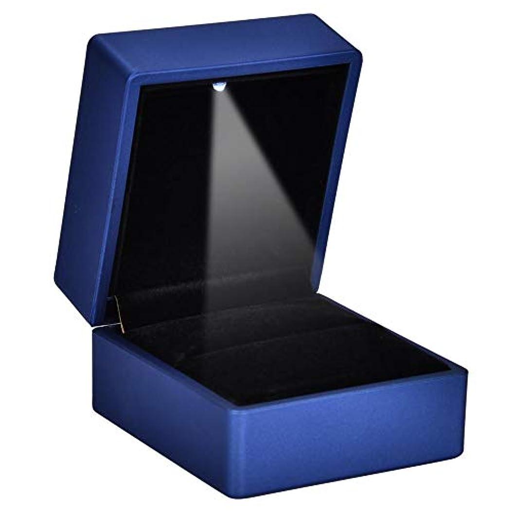 寛大なアッティカスシールド2種類ファッショナブルなLEDリングボックス - 内部LED照明付きリングケース、ジュエリーホルダーリング収納ケース、結婚式の提案(ブルー-90 * 70 * 35)