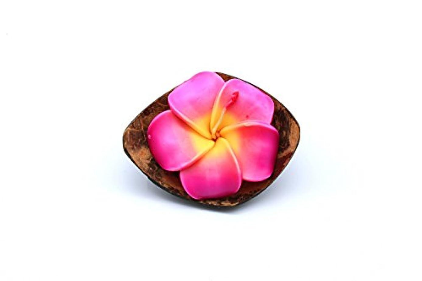 ただやる無意識イブハワイのルアウパーティーリアルココナッツクォーターシェルキャンドルホルダー花プルメイラローズ香りのキャンドルピンク