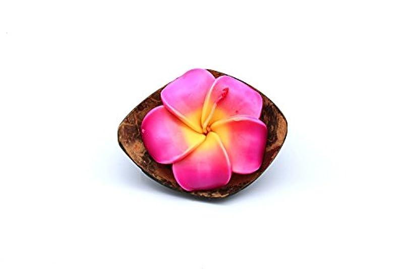波変形するもハワイのルアウパーティーリアルココナッツクォーターシェルキャンドルホルダー花プルメイラローズ香りのキャンドルピンク
