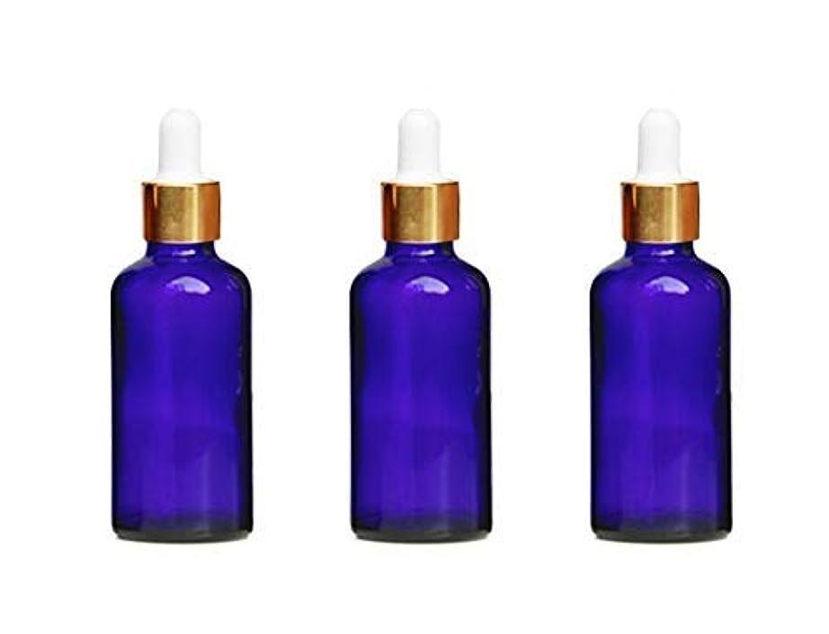 力学ライム訴える3Pcs Blue Glass Essential Oil Dropper Bottles Empty Refillable Makeup Cosmetic Sample Container Jars With Glass Eye Dropper and White Rubber Cap(50ml/1.7oz) [並行輸入品]