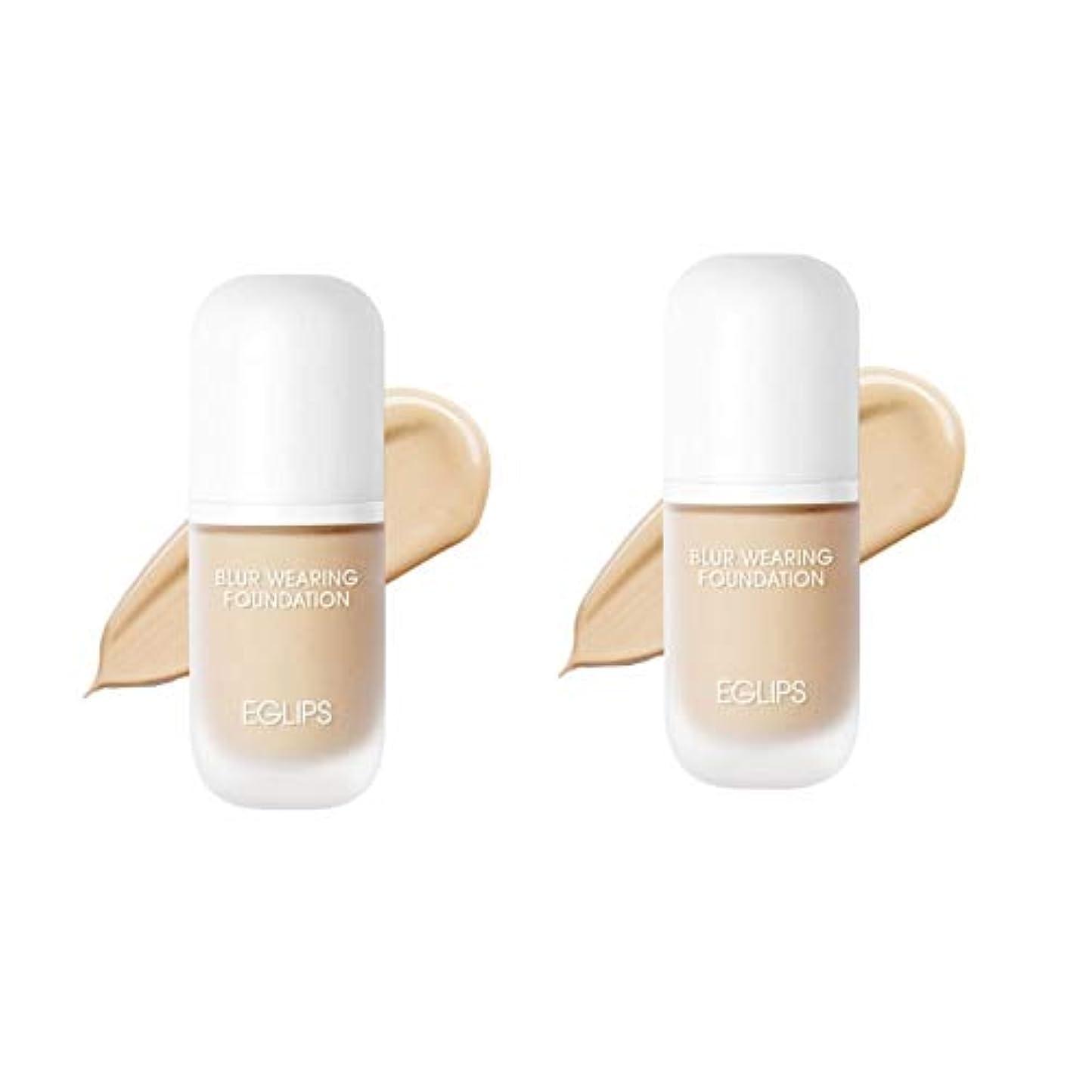 イーグルリップスブラーウェアリングファンデーション 30mlx2本セット3カラー韓国コスメ、EGLIPS Blur Wearing Foundation 30ml x 2ea Set 3 Colors Korean Cosmetics...