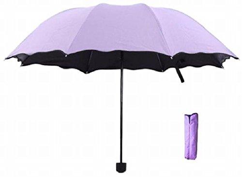 (TERA Dream) 3段折 折りたたみ 傘 晴雨兼用 雨で模様が浮き出る 遮光 遮UV コンパクト 携帯 撥水 UV対策 収納ケース付 レディース (淡紫色)