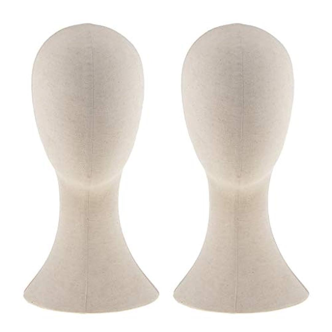 マウスピース底出くわすT TOOYFUL キャンバス マネキン ヘッド トルソー 頭 カット練習 頭部 女性 ウィッグマネキン ウィッグスタンド2個