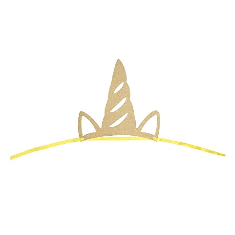 Lovoski キラキラ ユニコーンホーンデザイン 帽子 ヘッドバンド リボン付属 子供 誕生日パーティー 赤ちゃん ベビーシャワー ヘアアクセサリー