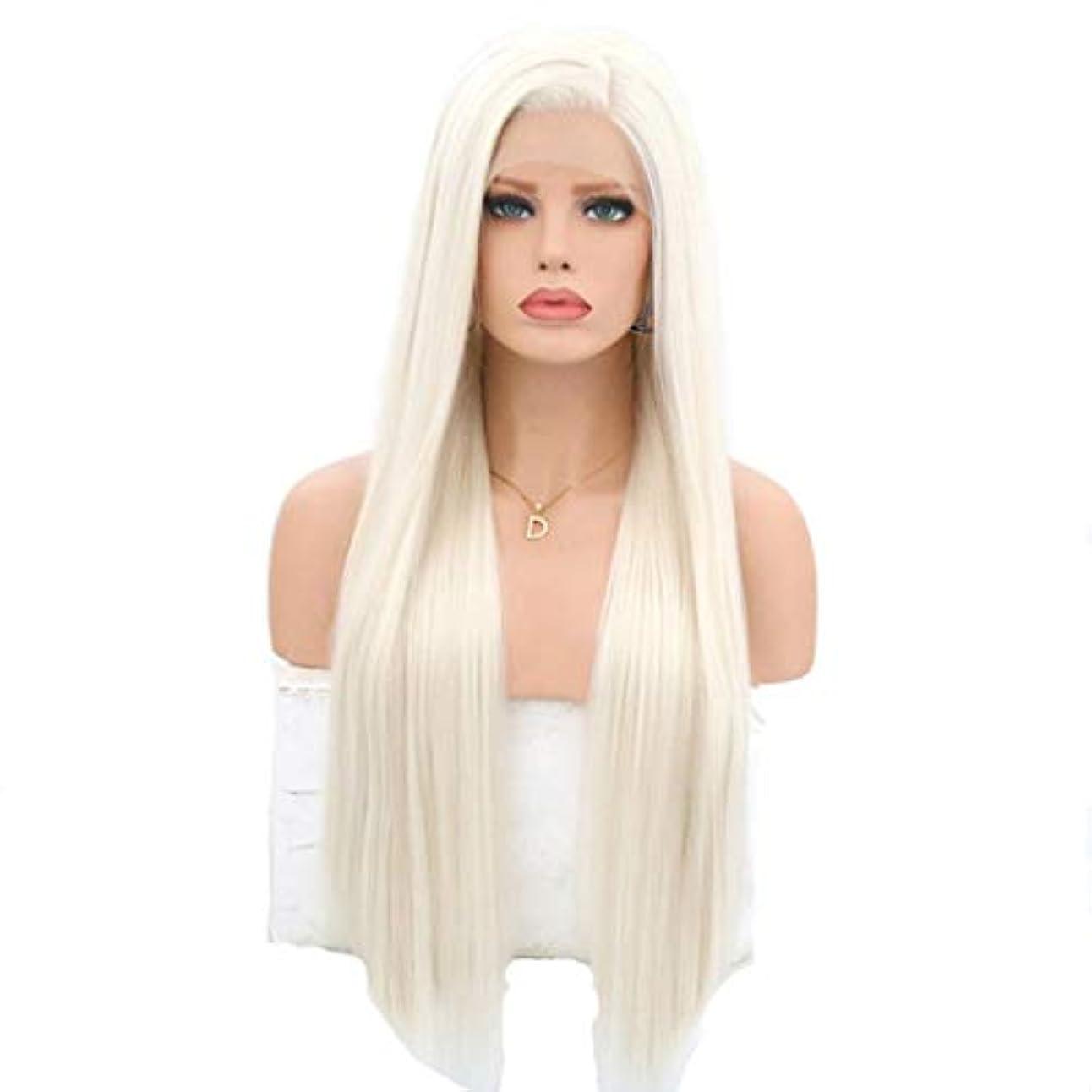 可動国民自宅でKerwinner 耐熱性女性用フロントレースかつらホワイトロングストレートケミカルファイバーウィッグ (Size : 16 inches)