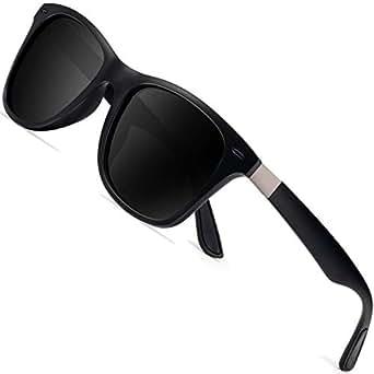 ウェリントン偏光メンズサングラス UVカットレディースサングラス UV400加工 男女共用 ユニセックス(BK-BK)