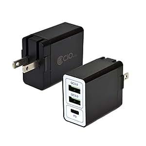 PD 充電器 USB 3ポート QC3.0 急速充電器 タイプC 小型 iPhone8/X/XS/XS Max/XR Galaxy Xperia Huawei Macbook Nintendo Switch ホワイト (ブラック)