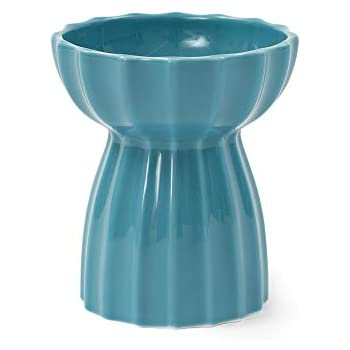pidan 猫ボウル 陶器 猫食器スタンド 猫食器台 脚付フードボウル 餌入れ ペット 手作られた陶器 美しいデザイン(真っ青)