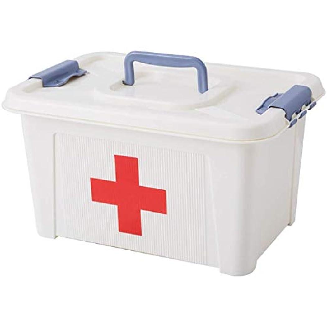 HTDZDX 薬箱、二重層の救急箱、家のための携帯用収納箱、旅行、キャンプ、オフィスおよび職場 (Size : 22*17*13.3cm)