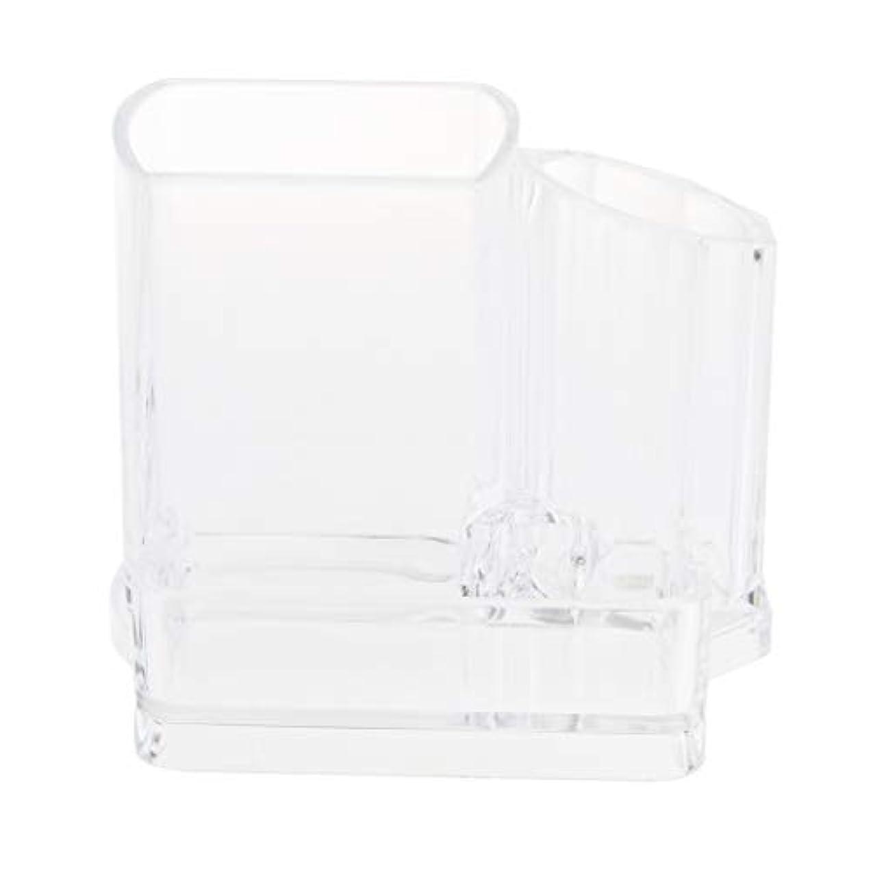 愛情深いセーブ旧正月D DOLITY メイクアップブラシホルダー アクリル クリア 化粧品オーガナイザー 3スロット