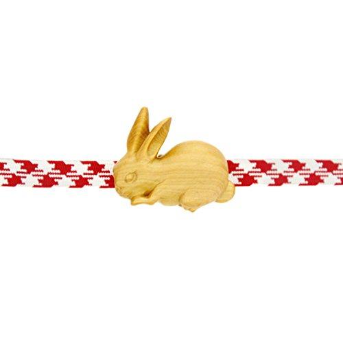 【おびどめ屋wargo】手作りオリジナル 木彫帯留め ツキ兎