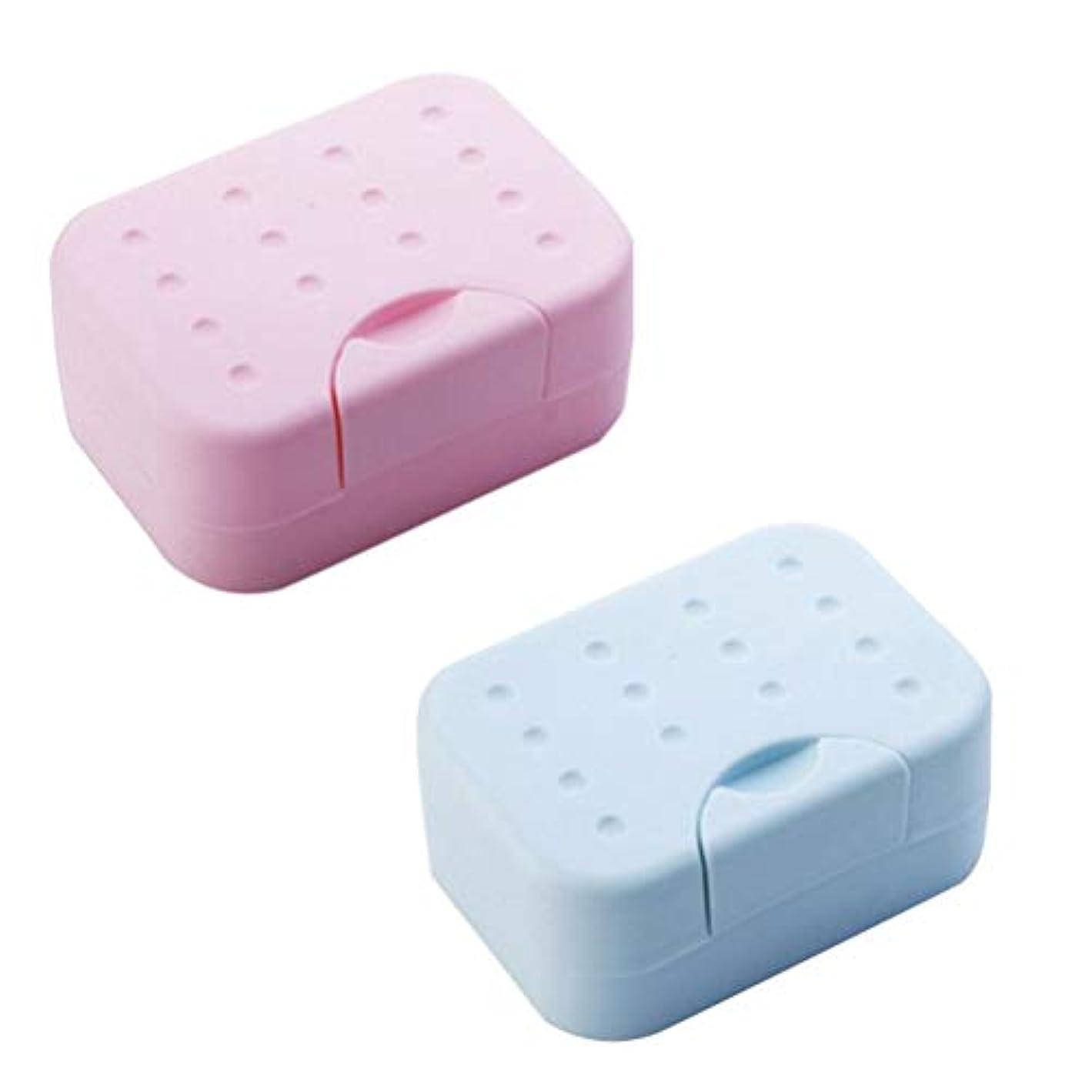 旅小川Healifty 2PC石鹸容器旅行石鹸ボックス石けんケース耐久性プラスチック防水飲料水スポンジ石鹸キャビネットのための食器ホルダーホームバスルーム(赤と青)