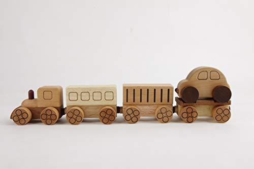 スプソリ 木のおもちゃ 汽車おもちゃ 木製 磁石で連結 乗用車 レッカー 荷台 貨物つき4連セット...