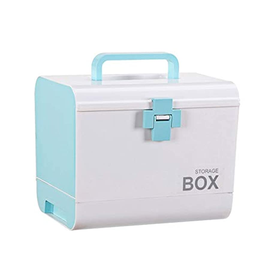 なかなか巨人縫い目薬箱デスクトップ薬収納ボックス特大家庭用緊急医療ボックス多層ポータブルデザイン4色 SYFO (Color : Blue)
