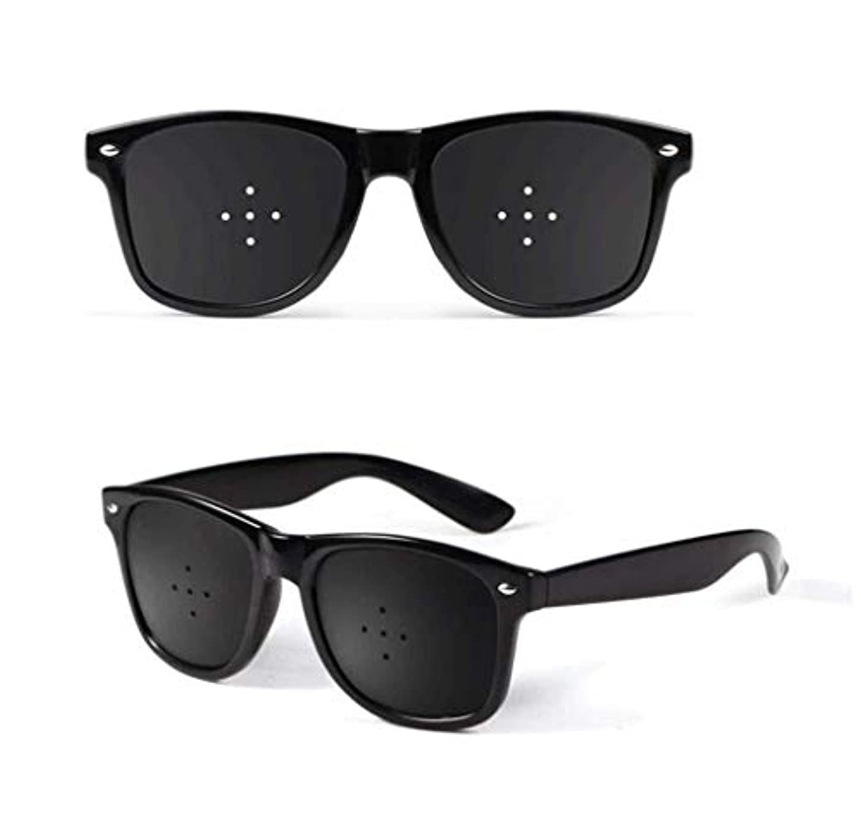 悪意ヒューマニスティック動ユニセックス視力ビジョンケアビジョンピンホールメガネアイズエクササイズファッションナチュラル (Color : 黒)