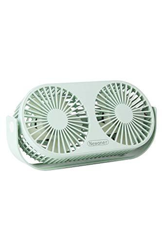 Newaner 小型扇風機 卓上 USB給電式 アロマ使用可能 大風量 ダブルファン 角度調節 手動首振り(グリーン)