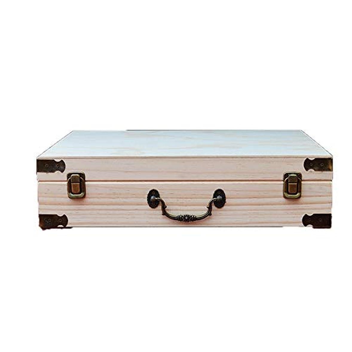 保育園品種手術エッセンシャルオイルボックス エッセンシャルオイルの60本のボトルを格納するストレージ木製のボックスには、油のセキュリティを維持するのが最善です アロマセラピー収納ボックス (色 : Natural, サイズ : 41X32.5X10.5CM)