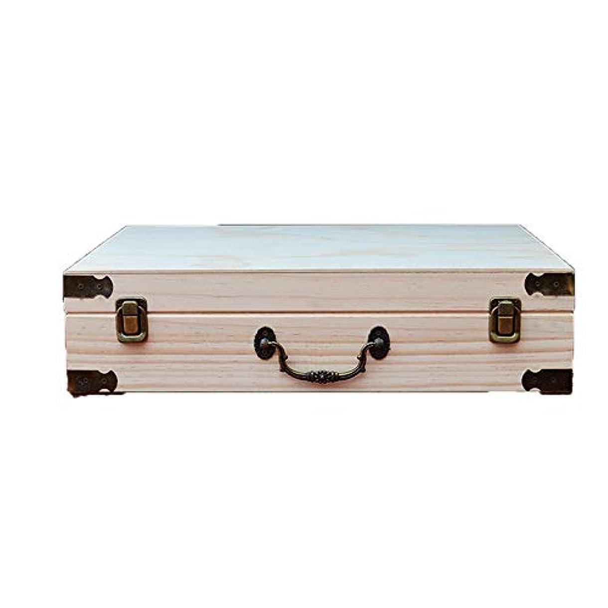ビリーリンスクラスアロマセラピー収納ボックス エッセンシャルオイルの60本のボトルを格納するストレージ木製のボックスには、油のセキュリティを維持するのが最善です エッセンシャルオイル収納ボックス (色 : Natural, サイズ : 41X32.5X10.5CM)