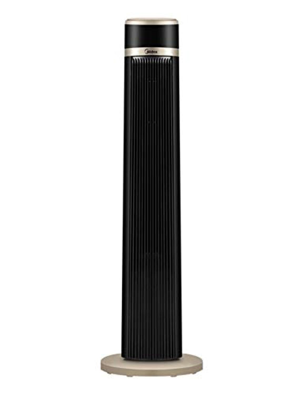 タワーファンリモートコントロールフロアパワーセービングサイレントクーリングデスクトップファン、ベッドルーム/リビングルーム/オフィス(ブラック+ゴールド)