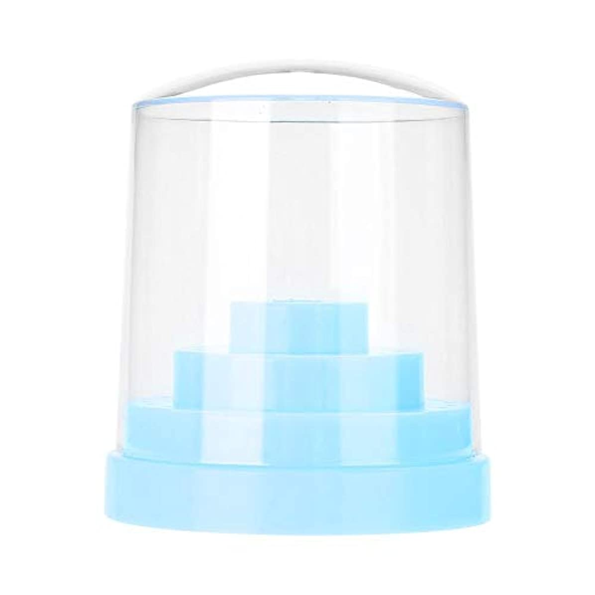 合法主観的外部ネイルドリルスタンド、48穴ネイルアートプラスチックネイルケアドリルスタンドホルダードリルビットディスプレイオーガナイザーボックスアートアクセサリーネイルドリル収納ボックス(青)