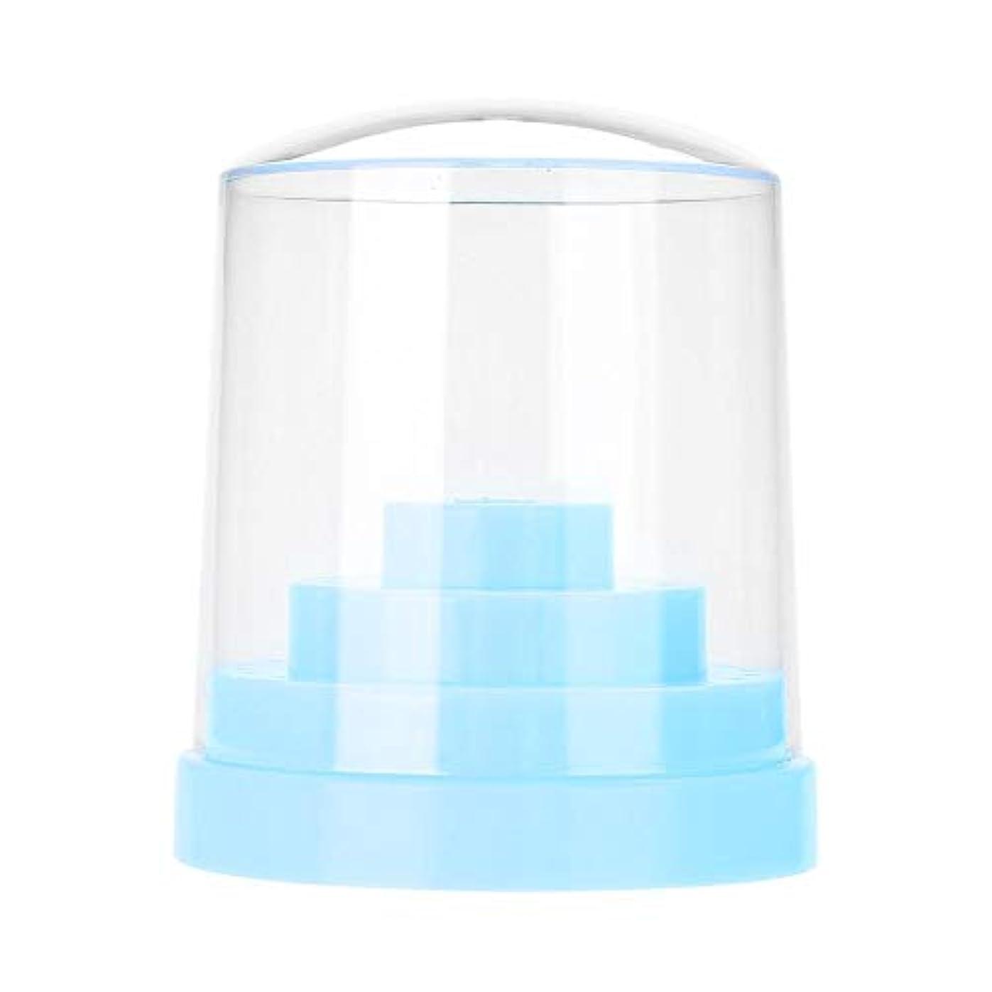 エージェントコメント前奏曲ネイルドリルスタンド、48穴ネイルアートプラスチックネイルケアドリルスタンドホルダードリルビットディスプレイオーガナイザーボックスアートアクセサリーネイルドリル収納ボックス(青)